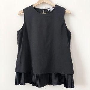 Calvin Klein | Black Blouse w/Pleated Hem
